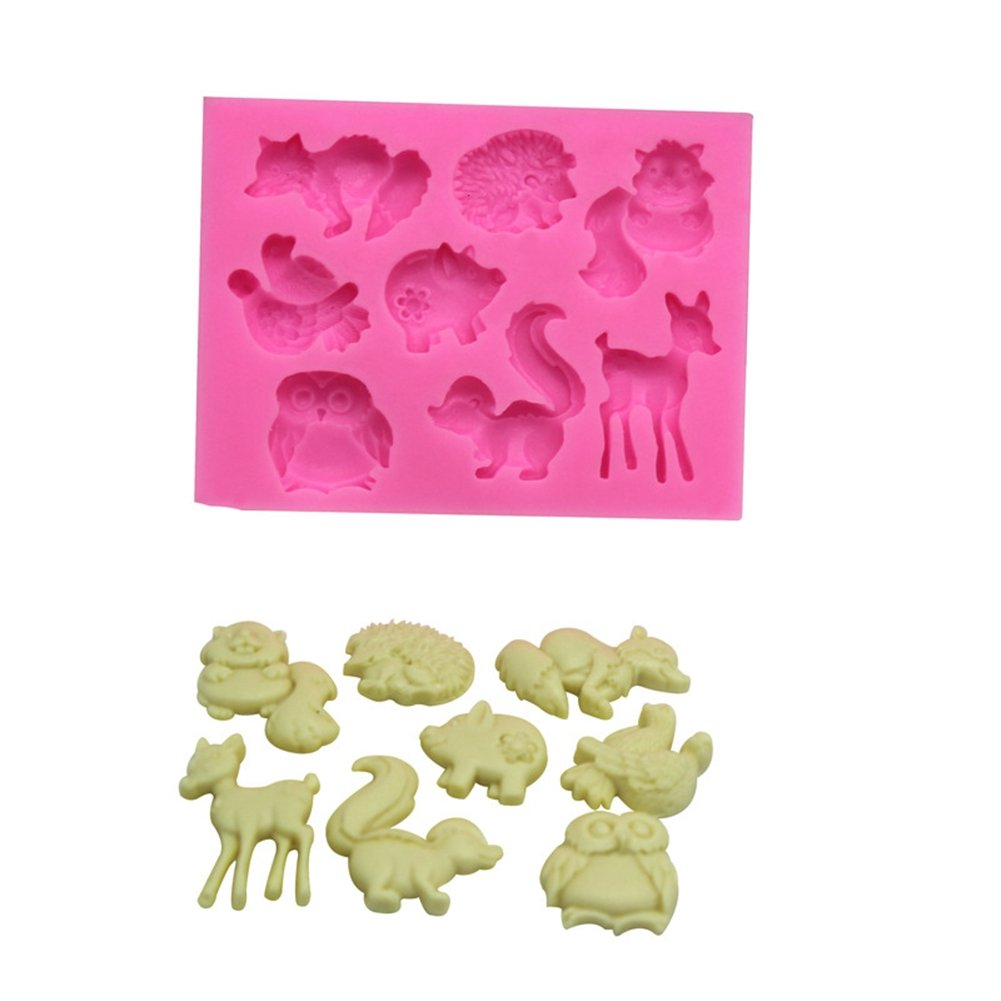 Cute Forest Animals Silicone Mold for Mousse Fondant Cake Baking Biscuit Chocolate Soap Ice Cube Tray Decorating Tools ( Pack of 2 )