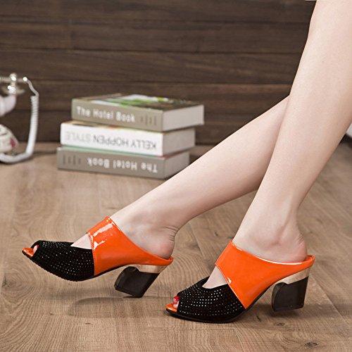Ularma Zapatos de mujer sandalias medio tacón Color bloque Rhinestone decoración naranja