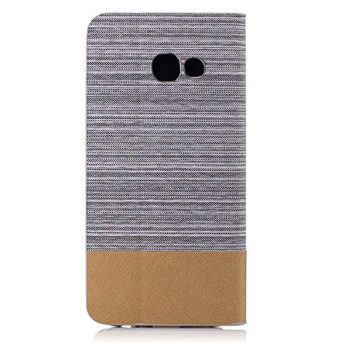 Funda Samsung Galaxy A5 (2017) Flip, Forhouse Prima Durbale Flip PU Cuero Billetera Carcasa Caso con [Función de Soporte] [Ranuras para Tarjetas] [Protectora Caja del Teléfono] Anti-Choques Anti-Gota  Gris Claro