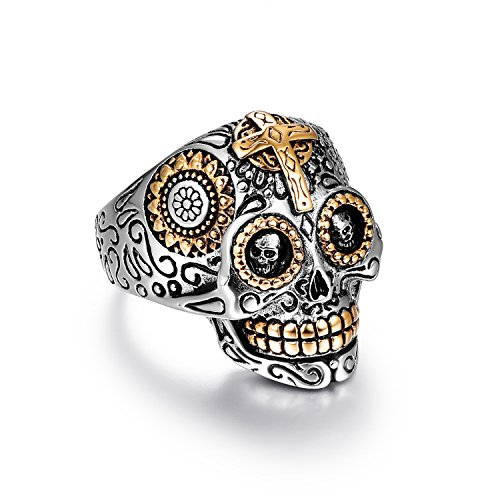 LAOYOU Sugar Punk Rock Rings Jewelry for Men Women Girls Ladies,Stainless Steel Biker Skull Gothic Cross,Black Vintage Day of The Dead Mens Promise Wedding Engagement Ring Size -