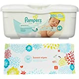 Pampers Sensitive Wipes Tub (64 ct) Bundle with Honest Company Baby Wipes (10 ct)