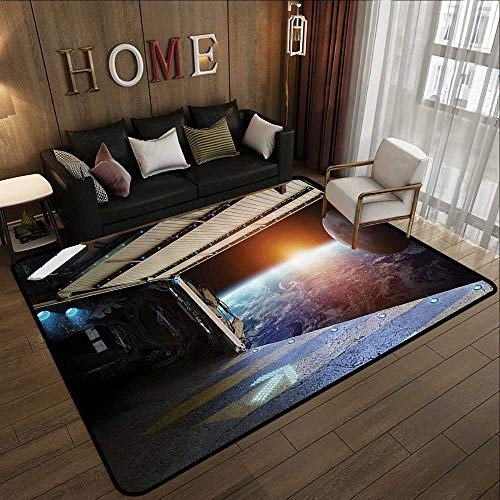 Silky Smooth Bedroom Mats,Outer Space Decor,Earth Scene from a Space Plane Runway Gate Globe Galaxy Up to Stars Picture,Multi 78.7