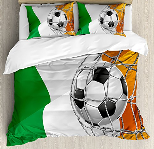 Irish King Size Duvet Cover Set by Ambesonne, Sports Theme Soccer Ball in a Net Game Goal with Ireland National Flag Victory Win, Decorative 3 Piece Bedding Set with 2 Pillow Shams, Multicolor by Ambesonne