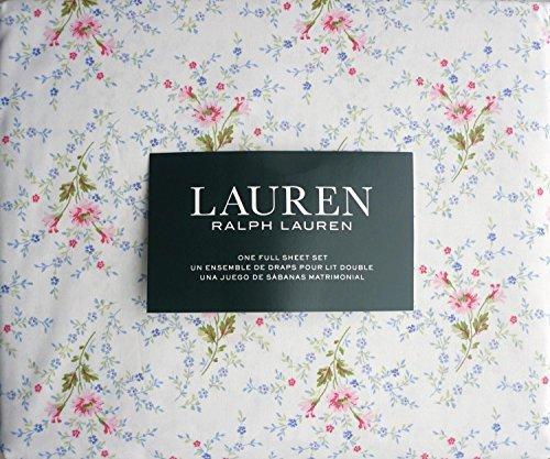 (Ralph Lauren Pink Blue Green Country Cottage Floral Sheet Set Full)