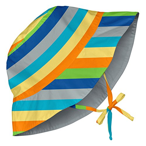 i play. Baby Reversible Bucket Sun Protection Hat, Gray/Multi Stripe, 0-6 Months