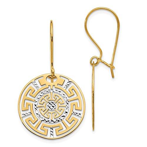 - Lex & Lu Leslie's 14k Yellow Gold Two-tone Greek Key Dangle Earrings