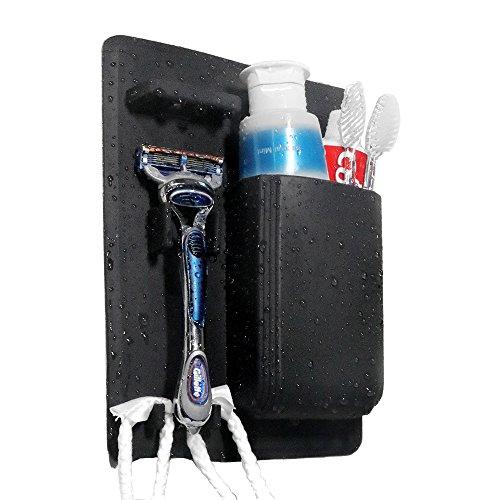 iDLEHANDS Silicone Toothbrush Holder - Bathroom Storage Organizer Wall Mounted Small Toiletry Items Shower Organizer Razor Holder (Black)