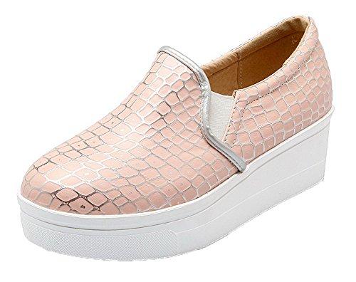 Allhqfashion Womens Tacco A Spillo Gonfiera Tacco A Coste Scarpe Pompe-scarpe Rosa