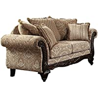 Homelegance Thibodaux Traditional Style Floral Loveseat, Brown