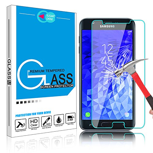Galaxy J7 2018 Screen Protector, Elegant Choise 9H High Definition Anti-Fingerprint Bubble Free Scratch Resistant Tempered Glass Screen Protector for Samsung Galaxy J7 Crown / J7 Refine / J7 Star