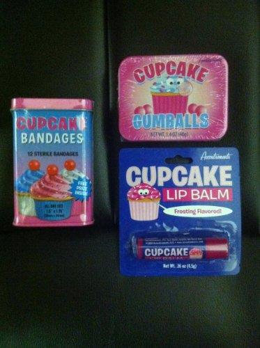 (CUPCAKE Lovers Triple Sampler Gift Pack- Cupcake Gumballs, Cupcake Lip Balm & Cupcake Adhesive)