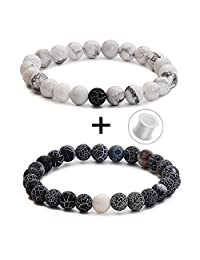Couples His and Hers Bracelets 8mm Beads Matching Distance Bracelet(2 pcs)