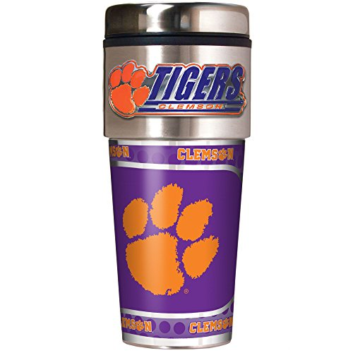 NCAA Clemson Tigers Metallic Travel Tumbler,  16-Ounce -