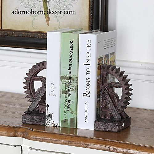 Industrial Gear Bookends Rustic Antique Steampunk Chic Decor Set of (Rustic Bookends)