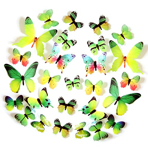 Tiled Buddha Art - FLY SPRAY 24pcs Vivid Green Butterfly Mural Decor Removable Wall Stickers with Adhesive Decals Nursery Decoration 3D Crafts