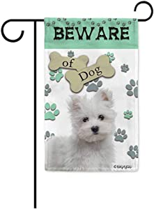 BAGEYOU Beware of Dog Maltese Decorative Garden Flag Puppy Paws Bone Home Decor Yard Banner for Outside 12.5X18 Inch Printed Double Sided