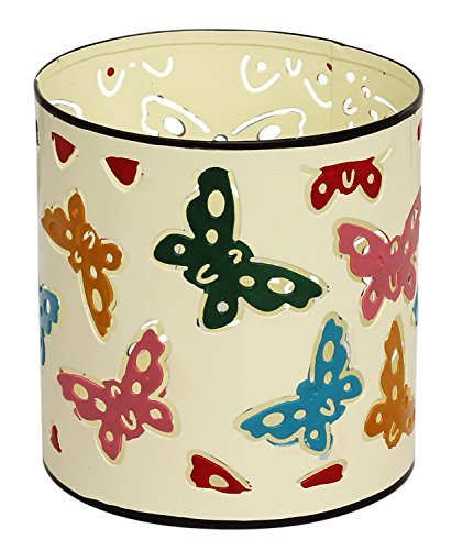 SouvNear Multi Purpose Holder – Pen / Pencil Ruler Organizer, Iron Tealight Holder Votive Tea Light Candle Holder with Butterfly Motifs – Handmade Des…