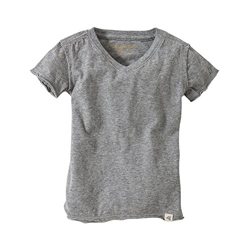 Burt's Bees Baby - Toddler Solid Short Sleeve Reverse Seam V Neck Tee, 100% Organic Cotton (Heather Gray, 7 Year Old) ()