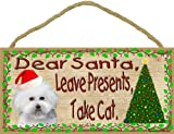 Dear Santa Leave Presents Take Cat Bichon Frise Christmas Dog Sign Plaque 5
