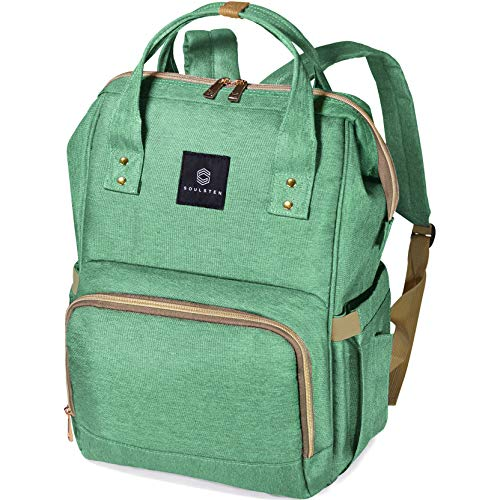 Diaper Bag Backpack, Soulsten Stylish for Mom and Dad, Multi-Function, Waterproof Travel Baby Nappy Bags for Boys and Girls, Large Capacity and Durable, Green