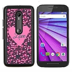 Stuss Case / Funda Carcasa protectora - Texto corazón rosado Negro Sparkle - Motorola MOTO G3 ( 3nd Generation )