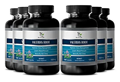 Sleep aid herbal supplement - VALERIAN ROOT EXTRACT 125 MG - Anxiety supplement - 6 Bottle 600 Capsules