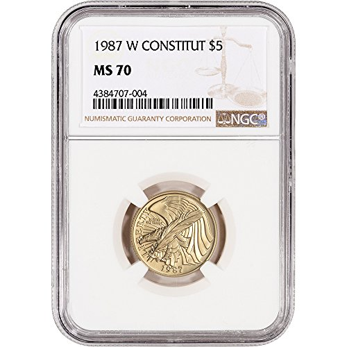 Us Commemorative Gold Coins (1987 W US Commemorative Gold BU Constitution $5 MS70 NGC)