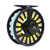 M MAXIMUMCATCH Maxcatch Avid Spooled Fly Fishing Reel with WF Fly Line, Backing, Tapered Leader: Silver/Black, 5/6wt (Matte Black, 7/8 wt)
