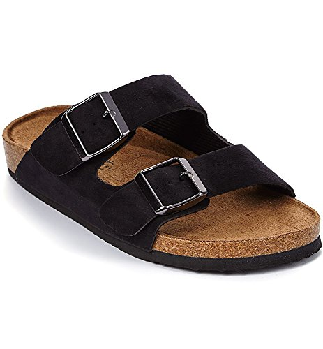 - Orly Shoes Women's Two Buckle Strap Vegan Suede Footbed Slide Sandal (8, Black Suede)