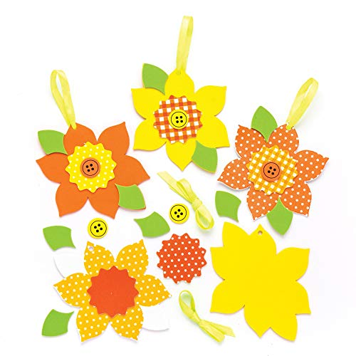 Baker Ross Daffodil Mix & Match Decoration Kits (Pack of 6) Spring Themed Crafts for Kids to Assemble and Display -