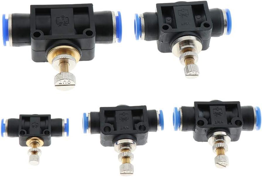 8 mm Pneumatisches Push In Fitting Luftstrom Geschwindigkeitsregelventil 4mm Bis