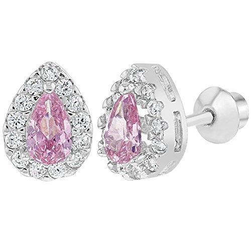 b7f56abd9b47 In Season Jewelry - 925 Plata de Ley Circonita Claro y Rosa Aretes con  Cierre de