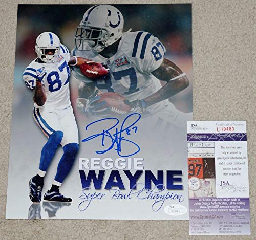 - Reggie Wayne Autographed Signed Indianapolis Colts Sb Xli 8x10 Photo Jsa Coa U19483
