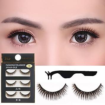 3eecbb86d47 Amazon.com : 3 Pair/Set 3D Cross Black Thick False Eyelashes Eye Lashes  Extension Makeup Super Natural Long Fake Eyelashes+ 1 Eyelash Tweezers(  random ...