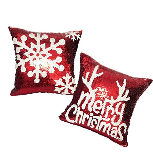 DOYOLLA Christmas Throw Pillow Covers 16x16 inch Red Sequin Decorative Cushion Cover Pillowcases for Couch Bed Sofa - Set of 2 from DOYOLLA