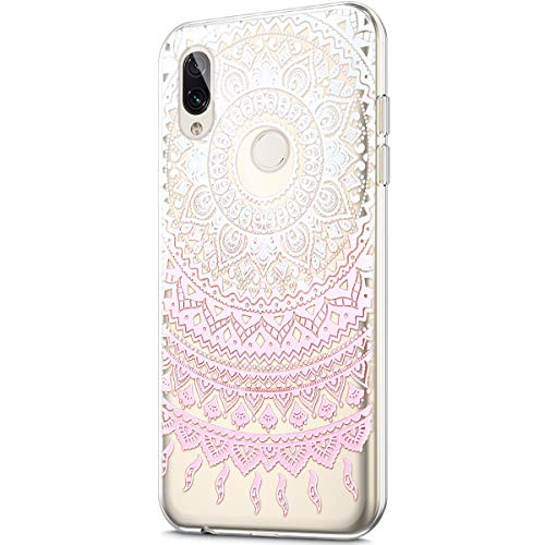 Price comparison product image Case for Xiaomi Redmi Note 7, Crystal Clear Art Panited Design Soft Flexible TPU Ultra-Thin Transparent Rubber Gel TPU Protective Case Cover for Xiaomi Redmi Note 7 Silicone Case, Pink mandala flower