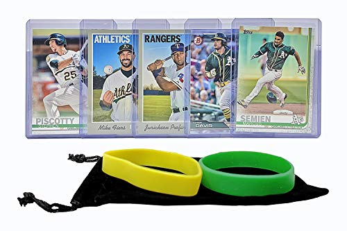 Oakland Athletics Baseball Cards: Marcus Semien, Stephen Piscotty, Khris Davis, Jurickson Profar, Mike Fiers ASSORTED Trading Card and Wristbands Bundle
