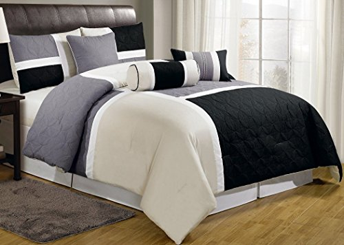 Chezmoi Collection 7-Piece Tan Quilted Patchwork Comforter Set, Queen, Black Gray (Black And Gray Bedding Sets)