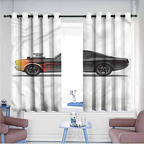 Mdxizc Durable Curtain Cars Retro Supercharger Vehicle Printing Insulation W55 xL45 Suitable for Bedroom,Living,Room,Study, etc.