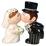 Westland Giftware Mwah Magnetic Bride and Groom Salt and Pepper Shaker Set, 4-Inch