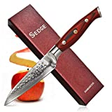 SEDGE Paring Knife - Japanese Damascus AUS-10V 67-Layers Steel - Peeler - Parer - Hammered Finish - Full Tang - With Non-Slip Royal Red G10 Handle - SD-H Series
