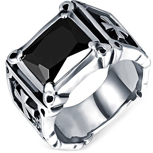 Men's Vintage Large Crystal Stainless Steel Dragon Claw Cross Ring Band Gothic Biker Knight Silver Black Size 7