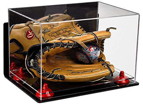 Deluxe Acrylic Baseball Glove Display Case with Mirror, Wall Mount, Red Risers and Clear Base (A004-RR)