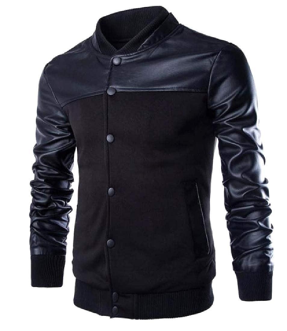 YUNY Men Utility Slim Casual Long Sleeve Button Down Jersey Jacket Black M