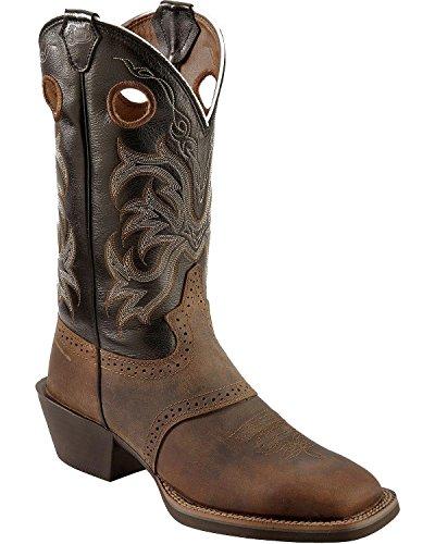 Justin Men's Punchy Stampede Cowboy Boot Square Toe Tan Dist