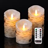 "BRAZING CANDLES , 3 pc LED Candle Set, Birch, 3 inch diam, remote control 3PC 3.15""x4""/5""/6High, ,Moving flame, Birch bark effect Birch wood,w/10 key remote control"