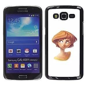 Be Good Phone Accessory // Dura Cáscara cubierta Protectora Caso Carcasa Funda de Protección para Samsung Galaxy Grand 2 SM-G7102 SM-G7105 // redhead kids children's white chara