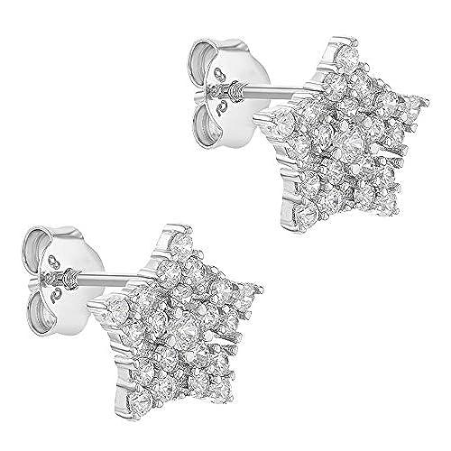 faa764f5a554 In Season Jewelry - 925 Plata de Ley Circonitas Claras Pendientes de Copo de  Nieve con