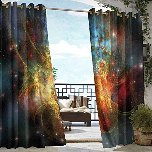DILITECK Outdoor Door Curtain Outer Space Princess Nebula Gas Expanse Outer Space Universe Matters in Astral Zone Darkening Thermal Insulated Blackout W108 xL72 Navy Orange Teal