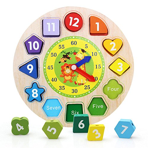 F_Gotal Toys for Boys Girls Clearace - Baby Kids Toddler Educational Toys Wooden Toy Digital Geometry Clock Wooden Blocks Toys Learing Toys for Kids Child Adults Gifts